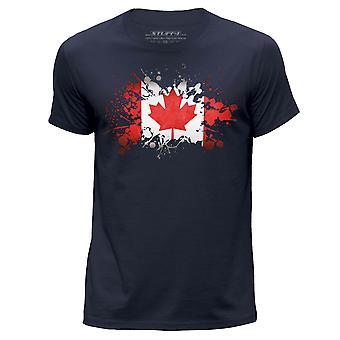 STUFF4 Men's Round Neck T-Shirt/Canada/Canadian Flag/Navy Blue