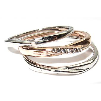 اه! المجوهرات 2mm كل ثلاثي عصابات خواتم مجموعة. الفولاذ المقاوم للصدأ وارتفع الذهب على الصلب