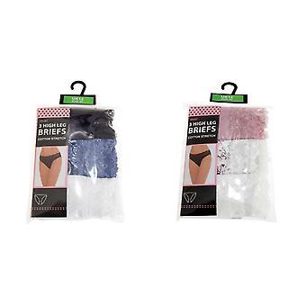 Anucci Womens/Ladies High Leg Briefs (3 Pairs)