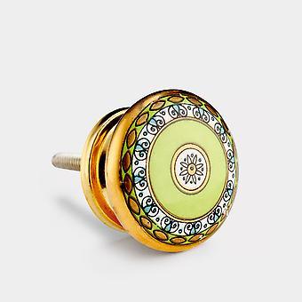 Ceramic Door Knob - Green / Gold