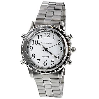 Relda Gents White Dial English Talking Alarm Feature Watch Two Tone Stainless Steel Strap REL131