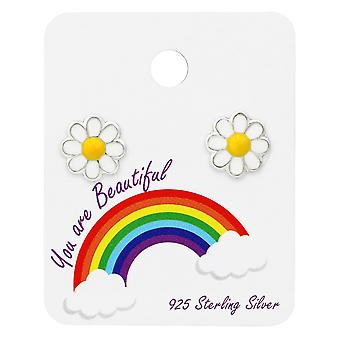 Daisy Ear Studs On Rainbow Card - 925 Sterling Silver Sets - W34101x