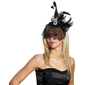 Heks hoed met witte spider hoofdband