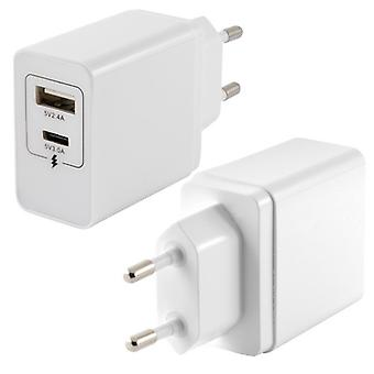 Wall Charger KSIX 2 USB White