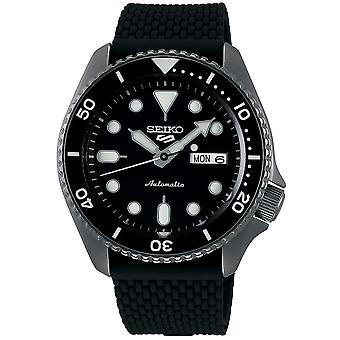 Seiko 5 Sports Black Dial Silicone Strap Automatic Men's Watch