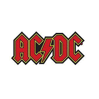 AC/DC Patch Classic Lightning Logo Official New Black Woven Cut Out 9cm x 4cm