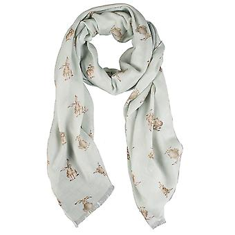 Wrendale Designs Scarf - Leaping Hare in Wrendale Green colour