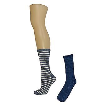 Cuddl Duds Women's Plushfill Mid-Weight Set of 2 Blue Socks A344015