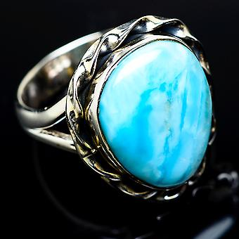Larimar Ring Size 7.5 (925 Sterling Silver)  - Handmade Boho Vintage Jewelry RING11497