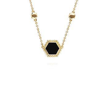 أسود أونكس شقة شريحة قلادة الهيكس في الذهب مطلي الاسترليني الفضة 271N014303925