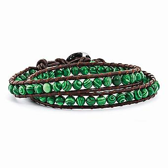6mm Green Malachite Beads Leather Cord Multi Wrap Bracelet Jewelry Gifts for Women