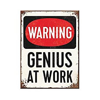 Warning - Genius At Work - Nostalgic Metal Magnet - Cracker Filler Gift