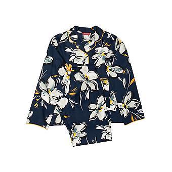 Minijammies Alexa 5630 Girl's Navy Blue Floral Print Pyjama Set