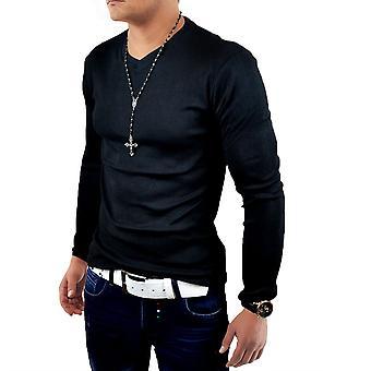 NYE Mens langarma Grunnliggende T-Shirt langermet skjorte klassisk genser v Sweatshirt