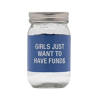 Say What Fund$ Glass Jar Money Bank (Blue)