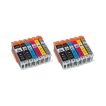 RudyTwos 2x Replacement for Canon PGI-570XL CLI-571XL Set Ink Unit Black Cyan Magenta Yellow Light Cyan & Light Magenta Compatible with Pixma MG5700, MG5750, MG5751, MG5752, MG5753, MG6800, MG6850, MG