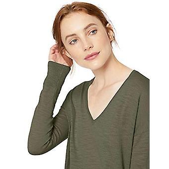 Brand - Daily Ritual Women's Lightweight V-Neck Tunic Sweater, Dark Ol...