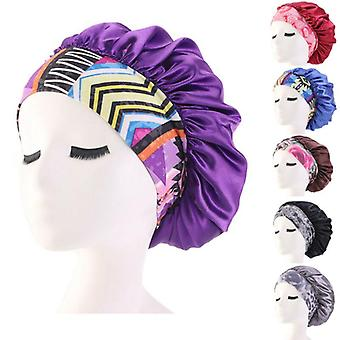 Women Satin Night Bonnet Hat Beauty Salon Sleep Cap Cover For Hair