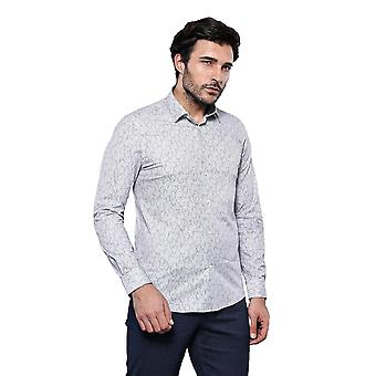 Light grey patterned long sleeve shirt | wessi