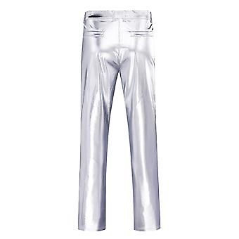 Metallic Moto Style Flat Front Faux Leather Mens Casual Night Club Novelty Straight Leg Disco Trousers