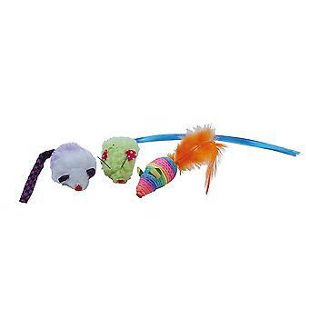 Gloria Rainbow Mice Cat Toys (Pack Of 3)