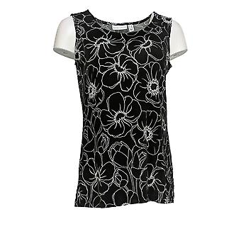 Susan Graver Women's Petite Top Liquid Knit Printed Tunic Black A374069