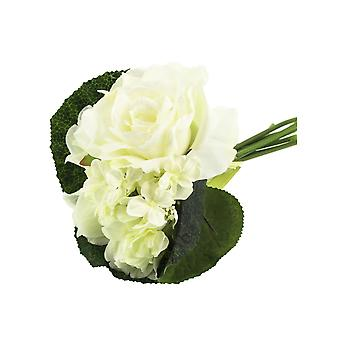 White Artificial Fabric Short Stem Rose & Hydrangea Bouquet