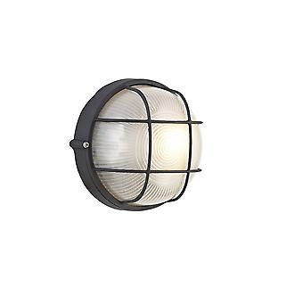Parete rotonda, Lampada a paratia a soffitto, 1 luce E27, IP44, nero, vetro