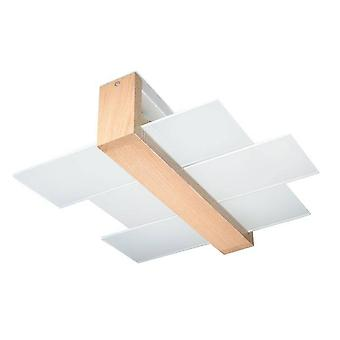 Sollux FENIKS - 2 Licht Flush Plafond licht natuurlijk hout, E27