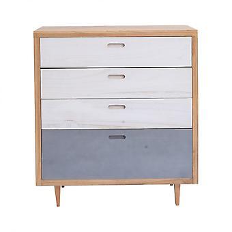 Rebecca Möbel Dresser 4 weiße Holz Schubladen blau braun 88x80x45