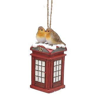 Single 8cm Christmas Robin Hanging Decoration - Telephone Box Design