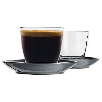 Duralex 12 Piece Gigogne Glass Coffee Cup and Ceramic Saucer Set - Modern Style Tumbler Mug for Latte Cappuccino - Grey - 220ml