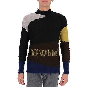 Off-white Omhe062f20kni0010825 Men's Black Wool Sweater