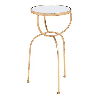 """12"""" x 12"""" x 24"""" Gold Mirror and Steel Side Table"""