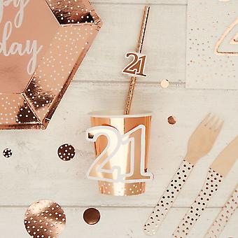 Rose Gold 21st Birthday Party Paper Cups x 8