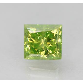 Cert 1.00 Carat Yellow Green VS2 Princess Enhanced Natural Diamond 5.38x5.14mm