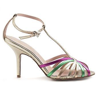 Sandale A Preislisten mit Anna F Gold und Multicolor Riemen
