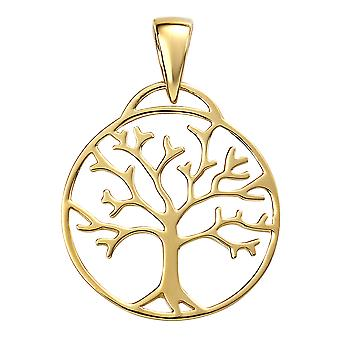 Comienzos Damas' 925 Oro de plata esterlina árbol chapado en oro de la vida colgante collar de longitud 41-46cm