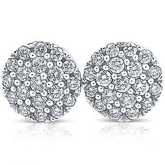 1ct Certified Round Diamond Screw Back Studs 14K White Gold Womens Earrings