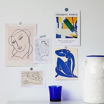 Cartão postal de arte de linha simples, cartão de decoração de collocation, moldura de foto