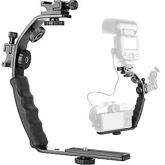 "Chromlives camera l bracket mount video grip l-bracket with dual flash cold shoe mount 1/4"" tripod s"