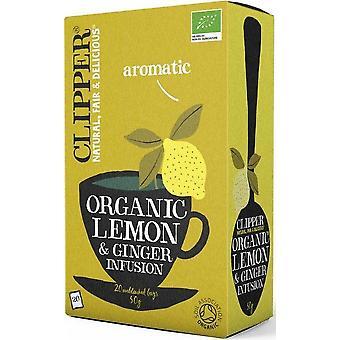 Clipper Organic Infusion Lemon & Ginger Tea 20's x6