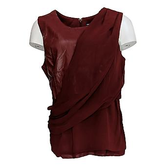 BROOKE SHIELDS Timeless Women's Top Asymmetrical Faux Leather Red A342033