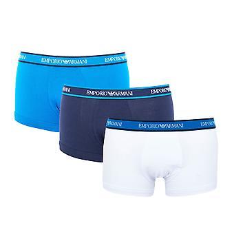 Emporio Armani 3 Pack Stretch Cotton Boxer Trunks - White & Blue