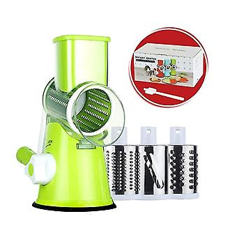 Homemiyn Rotary Cheese Grater, Kitchen Vegetable Slicer With 3 Interchangeable Blades, Easy To Clean Rotary Grater Slicer For Fruit, Vegetables, Nuts