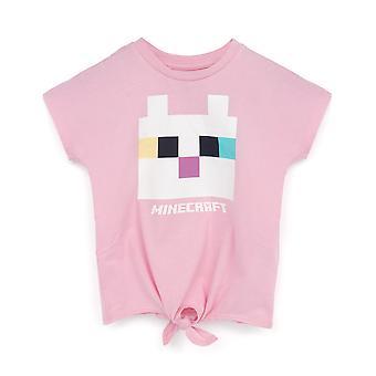 Minecraft Tričko Dievčatá Kitty Predná kravata Ružová hráčka Tee Kids Darček