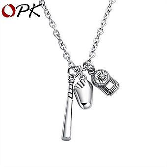 Mode Pendentif Collier Baseball Hat Bat Glove Sports Stainless Steel Chain Ch