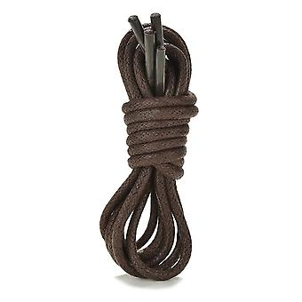 Dark Brown Mens Thin Round Cotton Waxed Shoelaces Laces