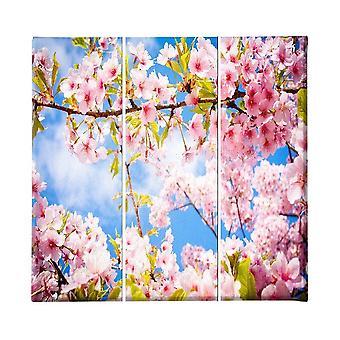 Veelkleurige bloemen schilderen in polyester, hout, L23xP3xA50 cm (3 stuks)