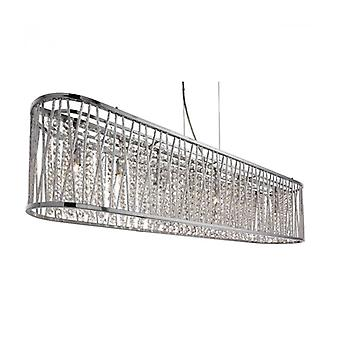 Lámpara Colgante Ovalada Elise De 8 Luces En Cromo, Alumiini Y Cristal